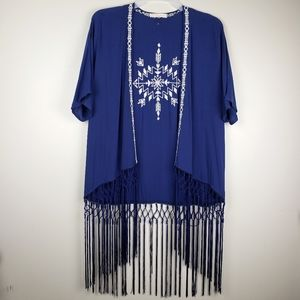 Love Tree open front rayon embroidered kimono